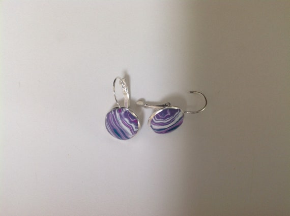 Hand made,polymer clay and silver,lever back