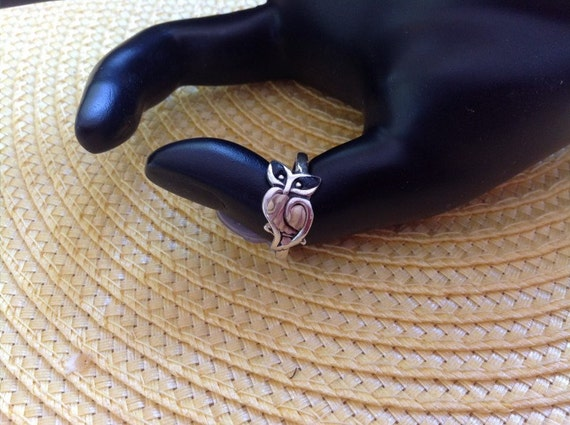 Handmade Sterling Silver and Polymer Clay Owl Ring Size 9
