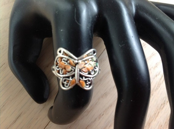 Handmade Antique Silver Plate Filigree Butterfly with Polymer Clay Ring Size 6