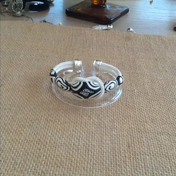 Black and White Clay and Silver Plate Adjustable Cuff Bracelet