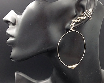 14K OR Sterling Silver Beaded Hoop Ear Cuffs, comfortable, contemporary and glamorous