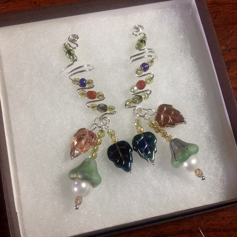 Colors of Nature Drop Ear Cuffs from Sterling Silver Freshwater Pearls and delicate Czech beads No ear piercings needed and comfortable