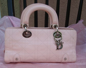 Authentic Christian Dior East West Pink Cannage Lady Dior Leather Handbag d5d7f21dad