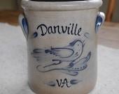 Vintage Stoneware Crock by Rowe Pottery Works, 2 Qt High Jar Danville VA