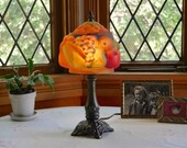 Rare Vintage Pairpoint Style Glass Fruit Table Lamp, Fruit Bowl Puffy Glass Reverse Painted Shade