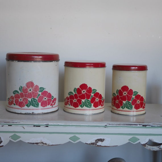 Vintage Kitchen Canister Set in Red White and Green, Set of 3 Canisters