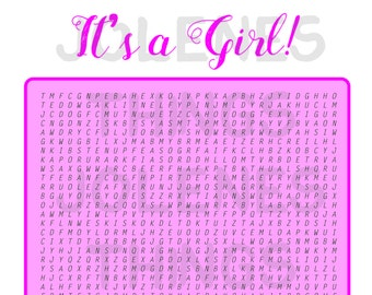 PRINTABLE ~ It's a Girl Baby Shower Game ~ Word Search