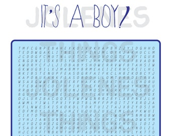 PRINTABLE ~ It's a Boy Baby Shower Game ~ Word Search