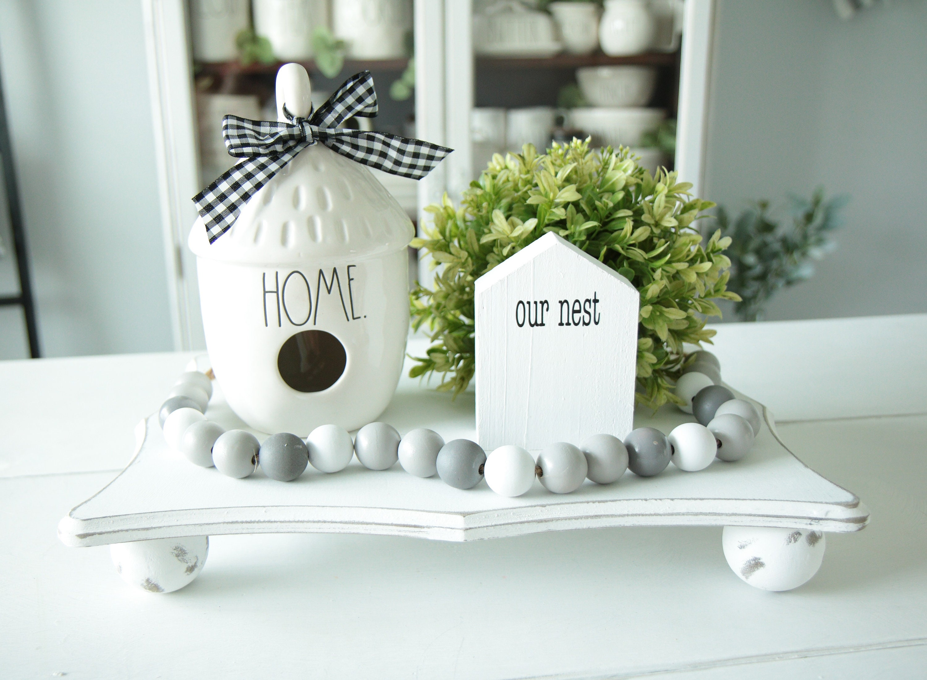 Mini Wood House Rae Dunn Inspired Patterned Wood House Farmhouse Decor Tiered Tray Decor