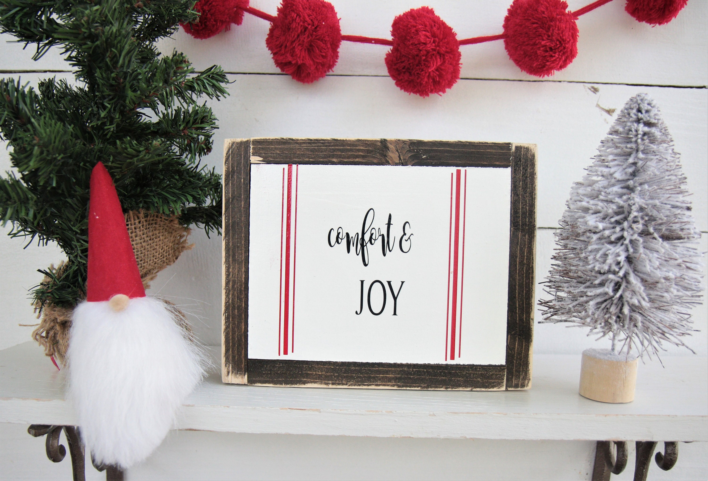 Christmas Sign-Comfort and Joy-Holiday Sign-Winter Decor-Merry | Etsy