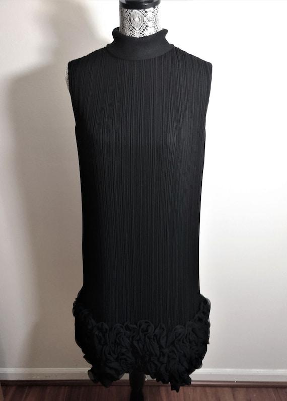 """Vintage """"Carlye"""" Black Pleated Sheer Cocktail Dres"""