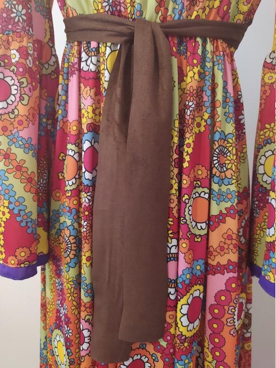 1970s Psychedelic Paisley Print Maxi Dress - image 4