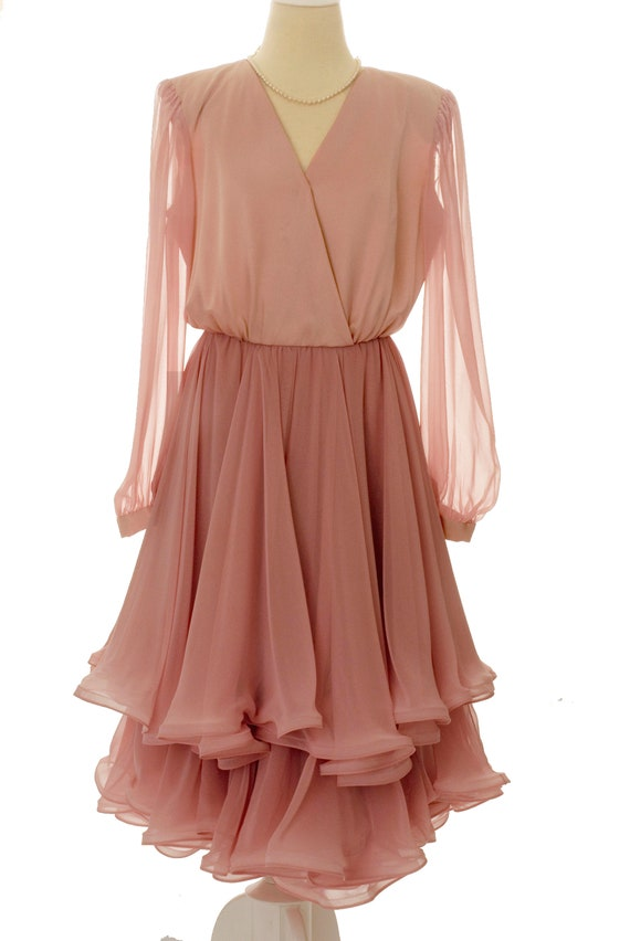 Vintage 1970/80's Pink Chiffon Ruffled Two-Tier Dr