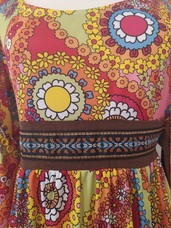 1970s Psychedelic Paisley Print Maxi Dress - image 3