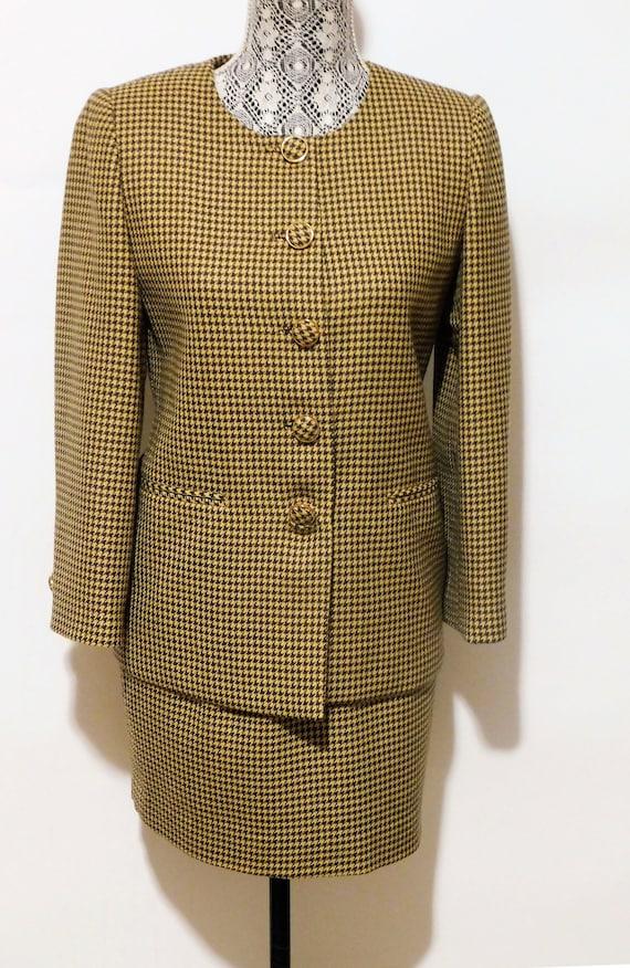 Vintage 1990's Houndstooth Pattern Jacket + Skirt