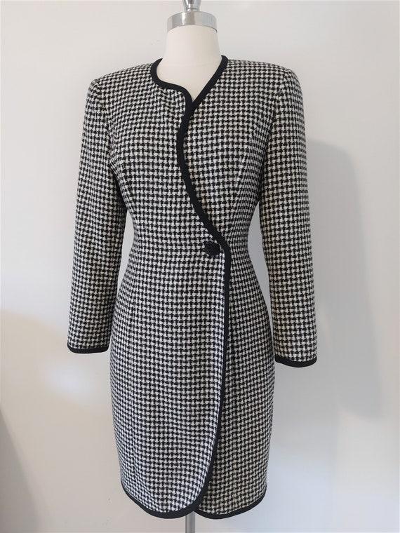 Bicci Houndstooth Pattern Wool Wrap Dress