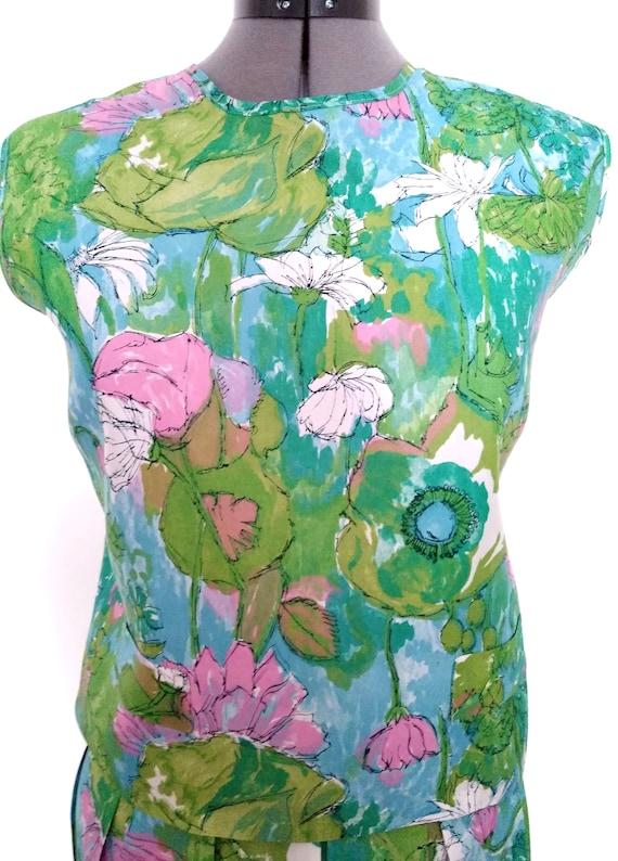 Vintage 1950s Floral Two-Piece Skirt Set - image 3
