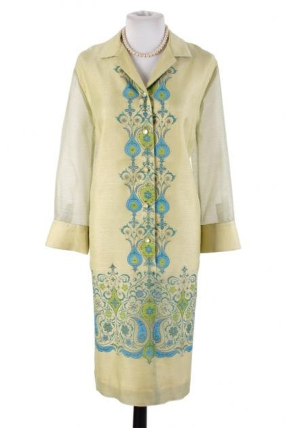 Vintage Alfred Shaheen Sheer Shirt Dress