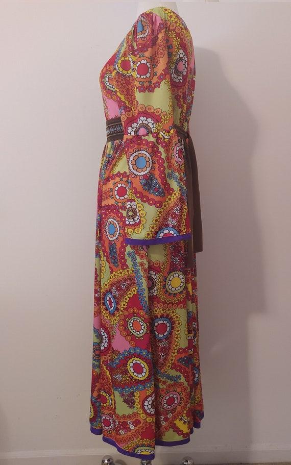 1970s Psychedelic Paisley Print Maxi Dress - image 7