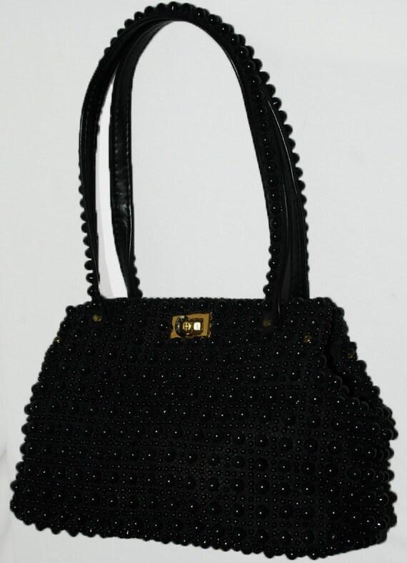 Vintage 1950's Black Beaded Handbag
