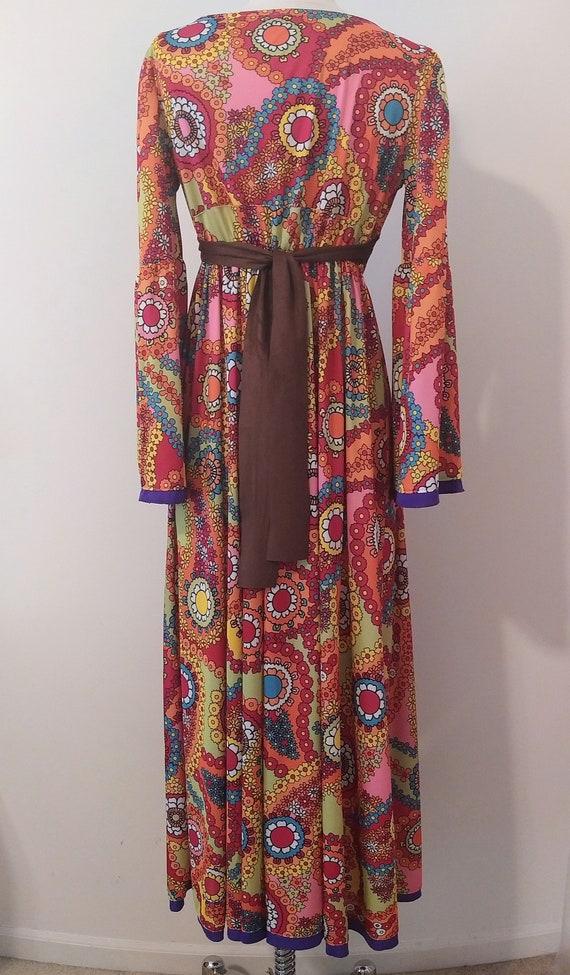 1970s Psychedelic Paisley Print Maxi Dress - image 2