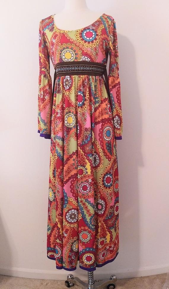 1970s Psychedelic Paisley Print Maxi Dress