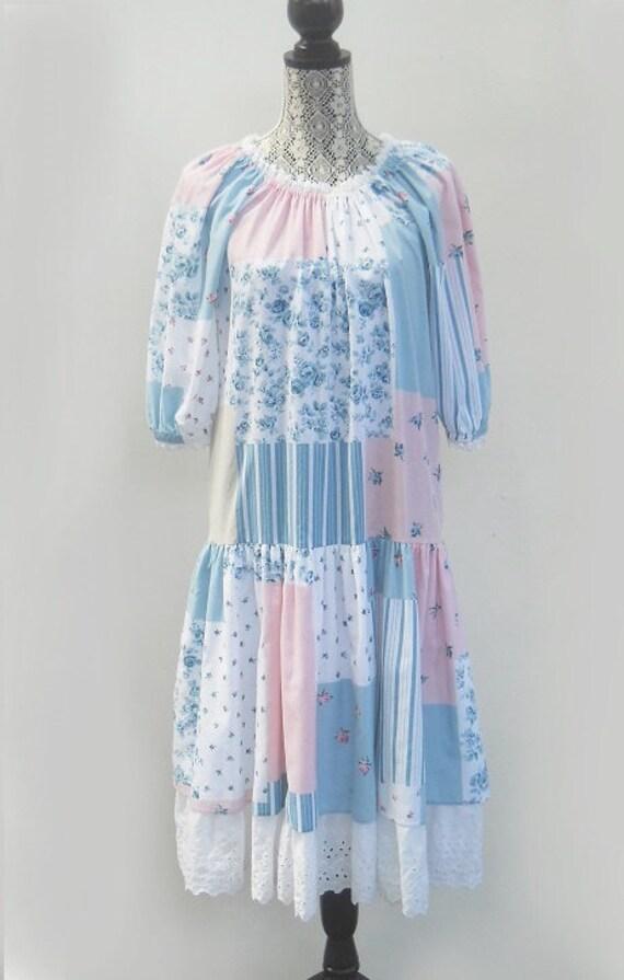 Vinage 1970's Patchwork Print Dress