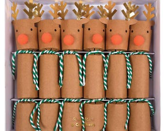 Christmas crackers etsy reindeer crackers by meri meri 6 small christmas crackers christmas party decoration christmas table stocking stuffer christmas favor solutioingenieria Gallery