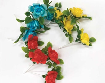 Recollections Floral Embellishments Hard Plastic Roses Blue