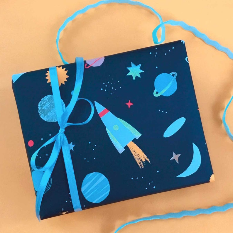 Space Wrapping Paper Sheets with Embossed Silver Foil Meri Meri Rockets Planets Constellations Gift Wrap