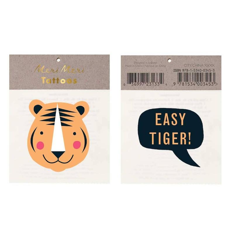 42a19eca4 Tiger Tattoo Meri Meri Easy Tiger Temporary Tattoos Fake   Etsy
