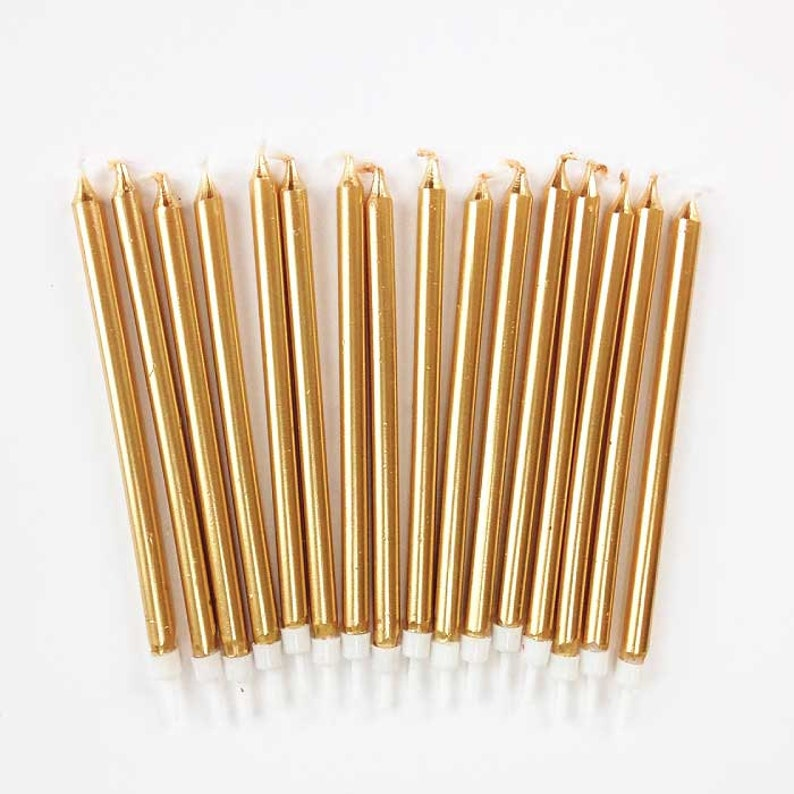 Tall Gold Birthday Candles 16 Five-Inch Gold Tapers Long image 0