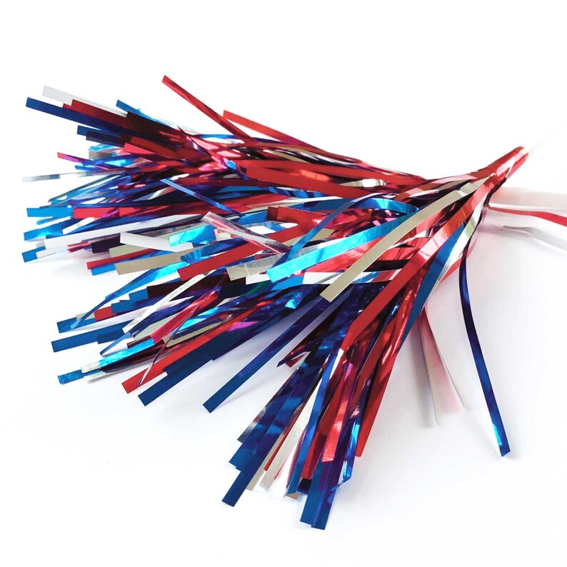 4th of July Mylar Spray Picks Patriotic Decor 6 Firecracker Decoration Red Silver Blue Sparkle Independence Day Cake Toppers