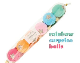 Rainbow Surprise Balls (set of 6), Colorful Party Favors, Tattoos & Friendship Bracelets, Meri Meri