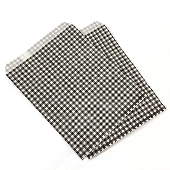 Gingham Party Bags 25 Black And White Check Favor Bags Etsy