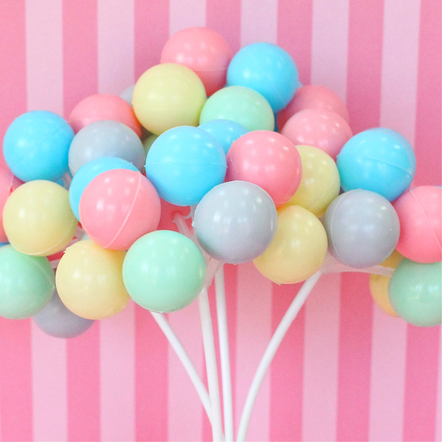 3 Pastel Party Balloon Cupcake Cake Toppers Plastic Balloon Clusters