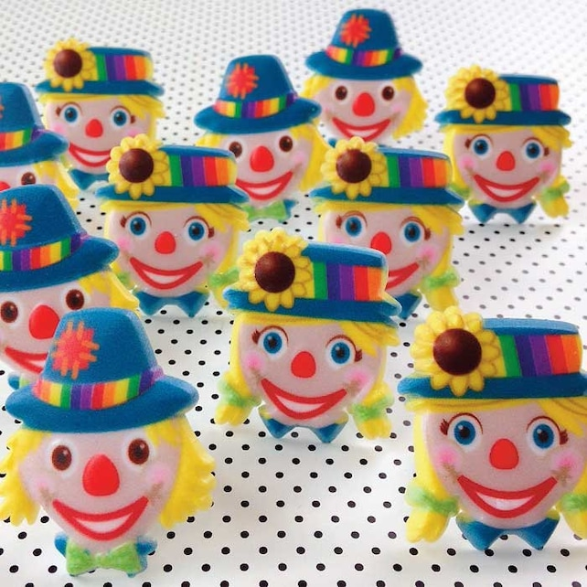 12 Clown Cupcake Topper Rings, Sunflower Cake Toppers, Circus Carnival Picks, Sunflower & Mum Cupcake Decorations, Birthday Party Pick, Fall