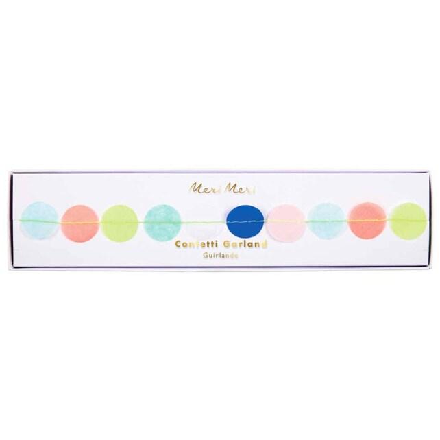 Multi Colored Confetti Garland by Meri Meri, 14 Foot Garland with 168 Tissue Pennants, Birthday Garland, Circle Party Banner, Nursery Decor