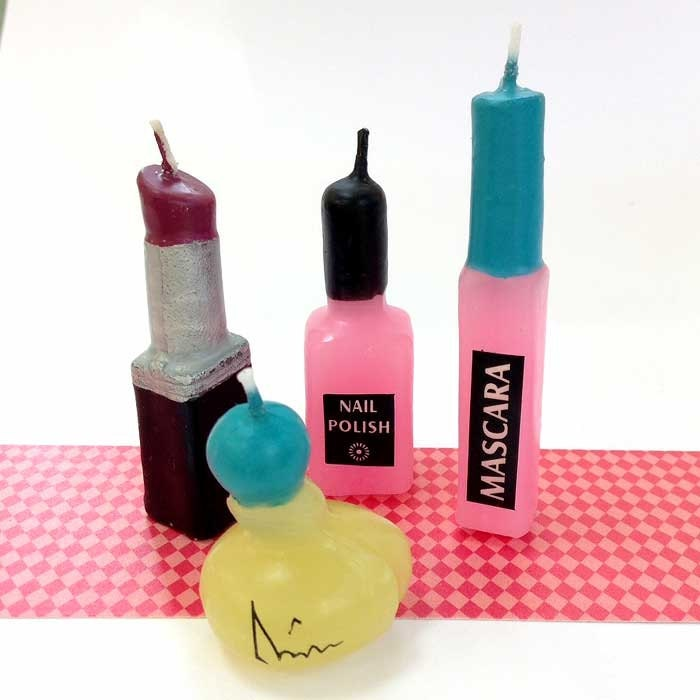 Makeup Candle Set Cake Toppers Spa Party Slumber