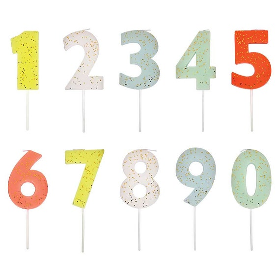 Large Number Candles With Gold Glitter Birthday Cake Toppers