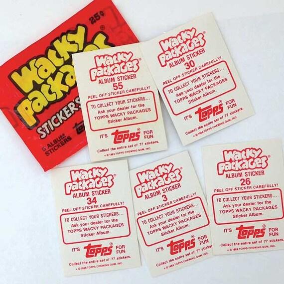 1986 TOPPS Wacky paquets Album Autocollants 10 non ouvert Packs