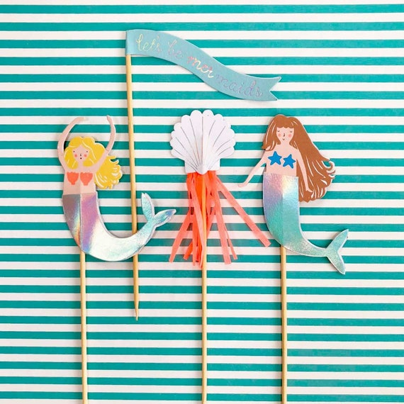 Mermaid Cake Toppers, Meri Meri Tall Cake Picks