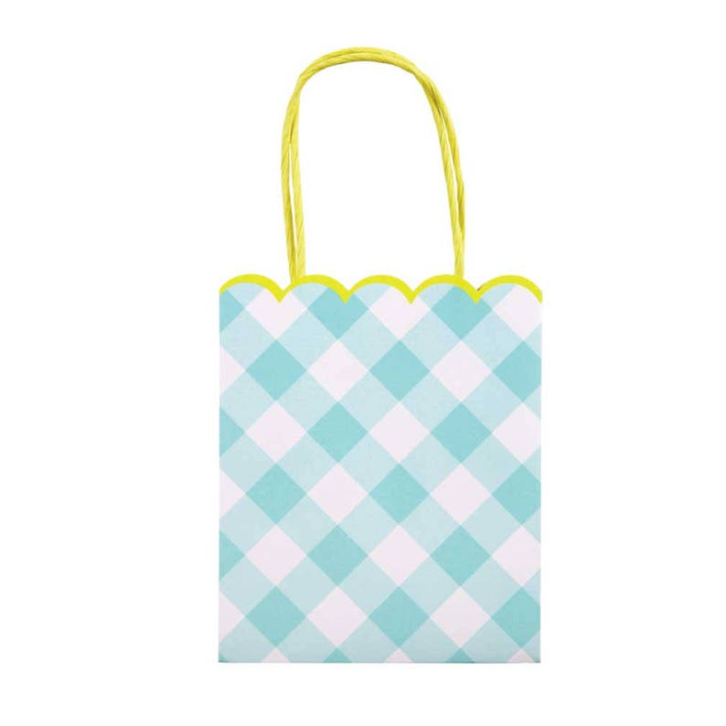 f86b07f0c2 Blue Gingham Party Bags set of 8 Meri Meri Gift Bag Favor