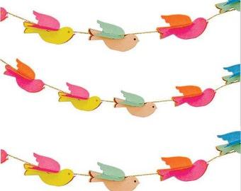 Pretty Birdies Mini Garland by Meri Meri, Toot Sweet Birds Party Decoration, Nursery Decor, Spring Party Banner, Baby Bird Shower