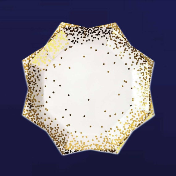 Gold Confetti Plates Large Paper Plate Meri Meri Luxury Tableware from CrankyCakesShop on Etsy Studio  sc 1 st  Etsy Studio & Gold Confetti Plates Large Paper Plate Meri Meri Luxury Tableware ...