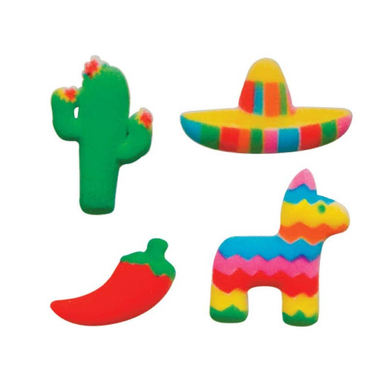 Fiesta Cake Toppers 12 Edible Decorations Mexican Fiesta ...