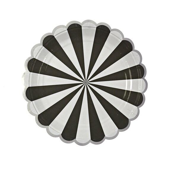 Black /& White Plates Dog Party Meri Meri Pack of 12