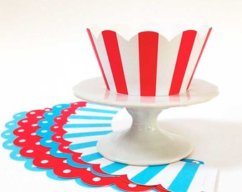 Cupcake Wrappers Red & Blue (set of 6), Polka Dot Stars Stripes Cupcake Liners, Reusable Cake Decor, Cupcake Photo Prop, Red White Blue