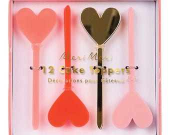 Acrylic Heart Cake Toppers (12), Meri Meri Valentines Picks, Pink & Gold Party Picks, Cupcake Toppers, Valentine's Day Decorations