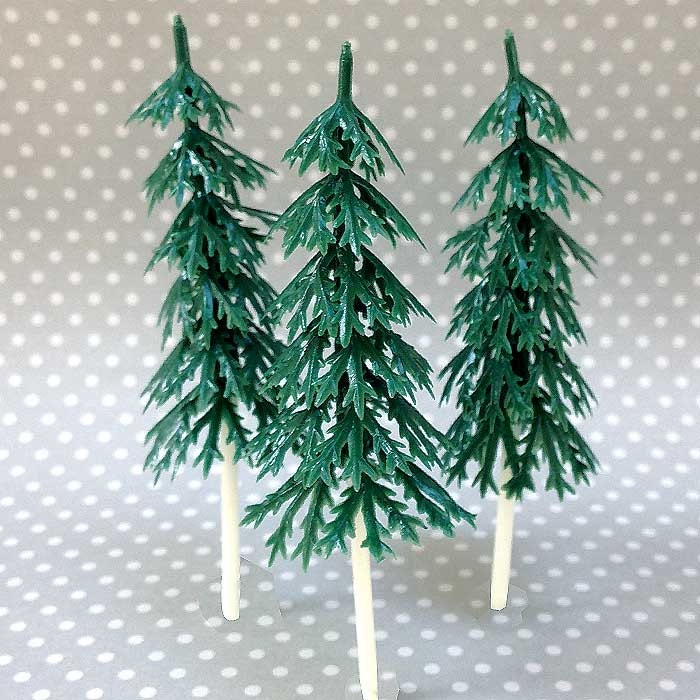 12 small pine tree cake toppers plastic evergreens woodland cupcakes miniature christmas tree lets explore adventure camping cake pick